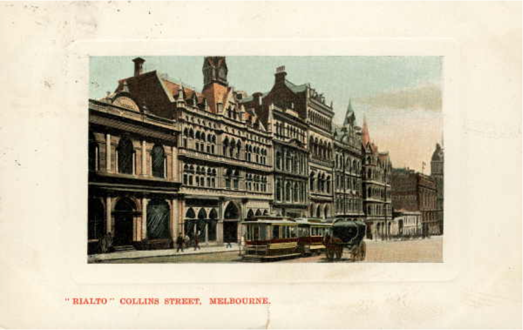 "Postcard of ""Rialto"", Collins Street, Melbourne, 1907 (State Library of Victoria("