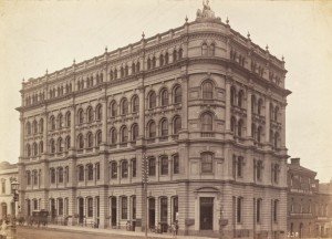 Robb's Buildings, south east corner of Collins and King Street, Melbourne *** MUST CREDIT: State Library of Victoria *** Date(s): ca. 1890 Description: photograph : albumen silver ; 14.3 x 20.0 cm., on mount. Copyright status: This work is out of copyright Terms of use: No copyright restrictions apply. Identifier(s): Accession no(s) H11741 Subjects: Melbourne (Vic.) -- Offices -- 482 Collins Street -- Robbs' Building