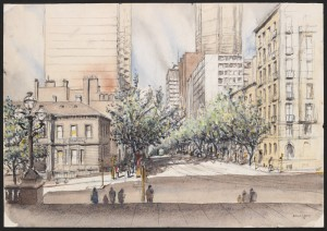 Collins Street from the steps of the Old Treasury Building, Spring Street looking west, Brian Lewis, 1978 (SLV.